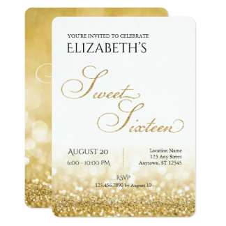 White and Gold Sweet Sixteen Birthday Invitation