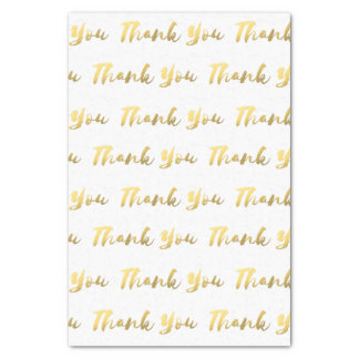 White and Gold Thank You Tissue, Brush Script Tissue Paper