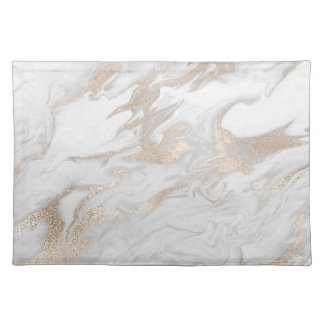 White and Gold Tone Marbled Place Mat