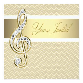 White and Gold Treble Clef Invitation Template