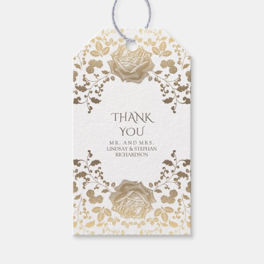 White and Gold Vintage Chic Elegant Wedding Gift Tags