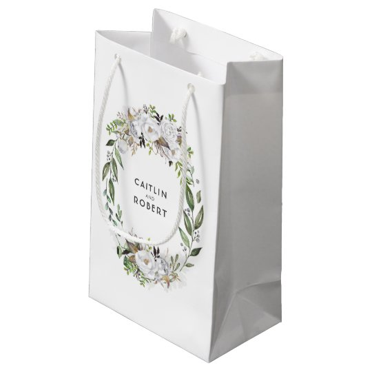 White and Gold Watercolor Flowers Wedding Small Gift Bag