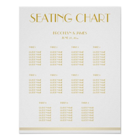 White And Gold Wedding Seating Chart Poster 16x20