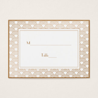 White and Golden Beige Art Deco Fans Escort Business Card
