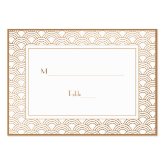 White and Golden Beige Art Deco Fans Escort Pack Of Chubby Business Cards
