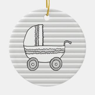 White and Gray Baby Pram Christmas Ornaments