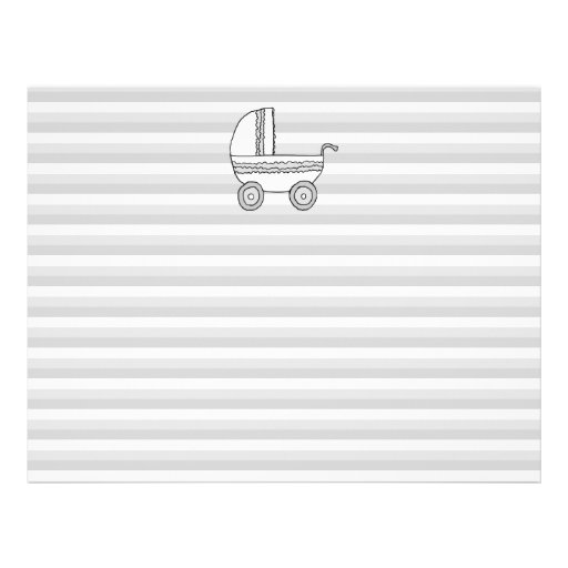 White and Gray Baby Pram. Personalized Flyer