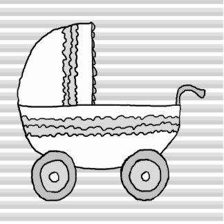 White and Gray Baby Pram. Acrylic Cut Out