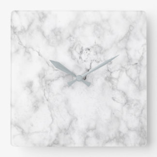 White and gray faux marble texture square wall clock