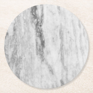 White And Gray Marble Texture Pattern Round Paper Coaster