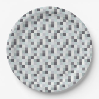 White and Gray Pixelated Pattern 9 Inch Paper Plate