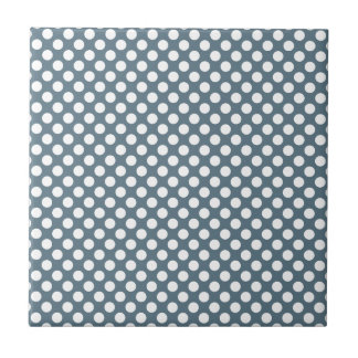 White and Gray Polka Dot Small Square Tile