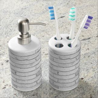 White and Gray Rustic Country Brick Soap Dispenser And Toothbrush Holder