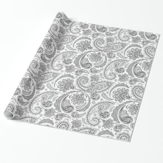 White And Gray Vintage Paisley Lace Damasks Wrapping Paper