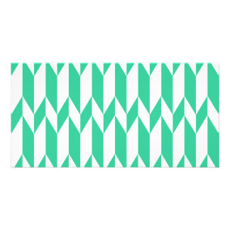 White and Green Abstract Graphic Pattern Photo Greeting Card