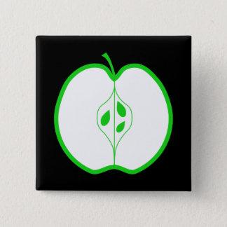 White and Green Apple Half. 15 Cm Square Badge