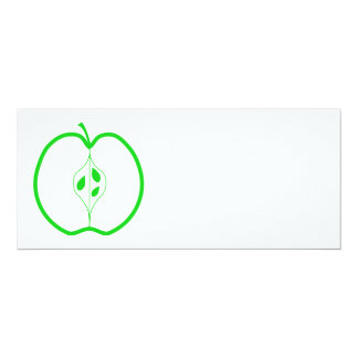 White and Green Apple Half. Card