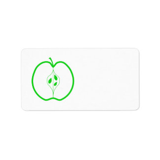 White and Green Apple Half. Label
