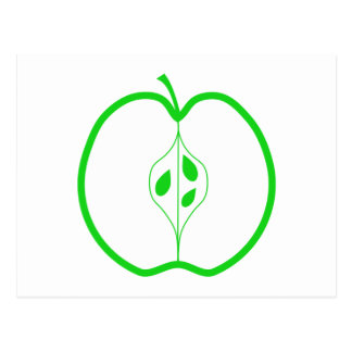 White and Green Apple Half. Postcard