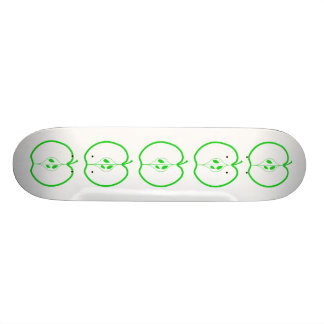 White and Green Apple Half. Skate Board Deck