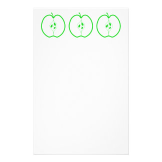 White and Green Apple Half. Stationery