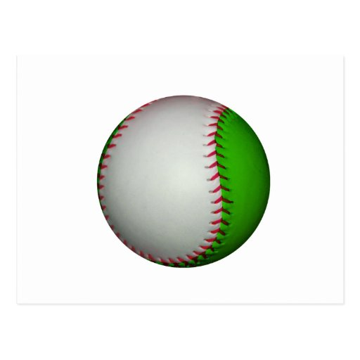 White and Green Baseball Post Card