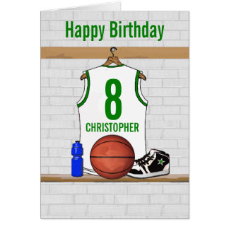White and Green Basketball Jersey Birthday Greeting Card