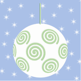 White and Green Christmas Bauble. On Starry Blue. Acrylic Cut Outs