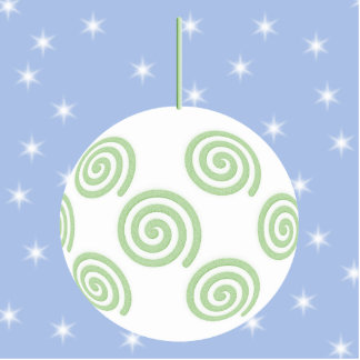 White and Green Christmas Bauble. On Starry Blue. Standing Photo Sculpture