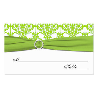 White and Green Damask Placecards Business Card