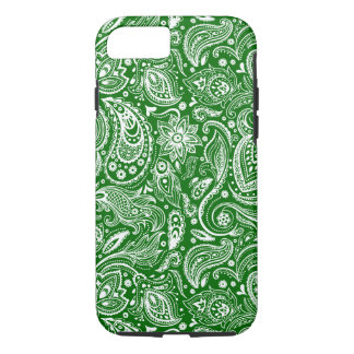 White And Green Floral Paisley Pattern iPhone 7 Case