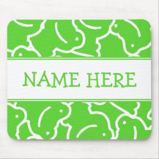 White And Green Frogs Add Your Name Mouse Pad