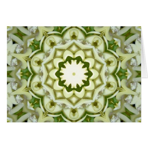 White and Green Kaleidoscope Greeting Card