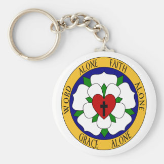 White And Green Luther Rose Basic Round Button Key Ring