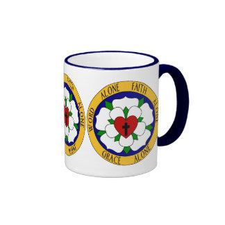 White And Green Luther Rose Ringer Mug