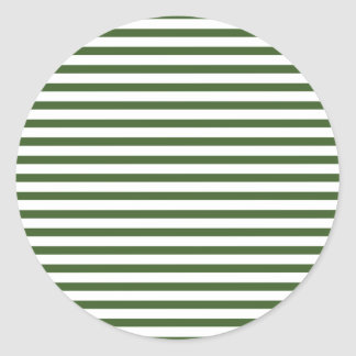 WHite and Green Modern Pinstripes Pattern Classic Round Sticker