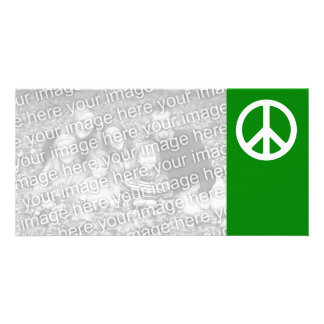 White and Green Peace Symbol Card