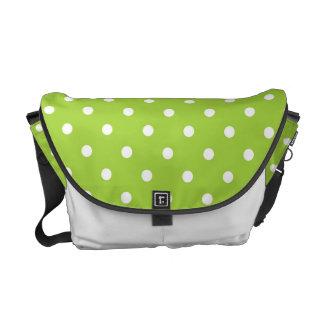 White And Green Polka Dot Messenger Bag