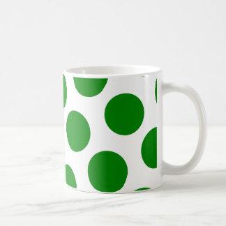 White and Green Polka Dot Pattern Basic White Mug