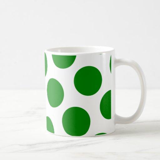 White and Green Polka Dot Pattern Mug