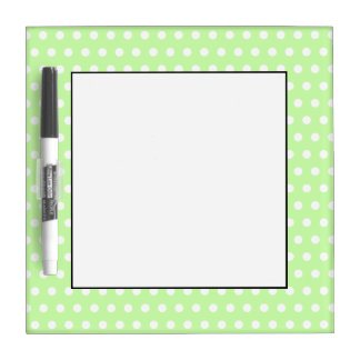 White and Green Polka Dot Pattern. Spotty. Dry Erase Board
