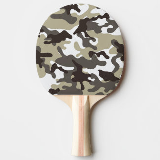 White and Grey Camouflage Ping Pong Paddle