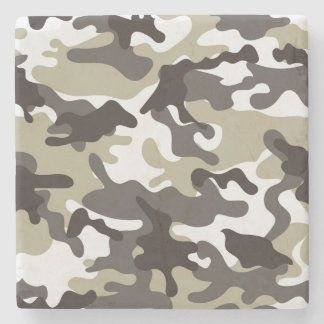 White and Grey Camouflage Stone Coaster