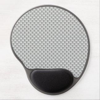 White and Grey Carbon Fibre Graphite Gel Mouse Mat