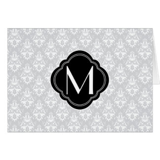 White and Grey Damask with Monogram Card