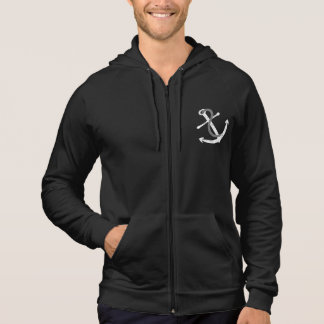 White and Grey Distressed Anchor Hoodie