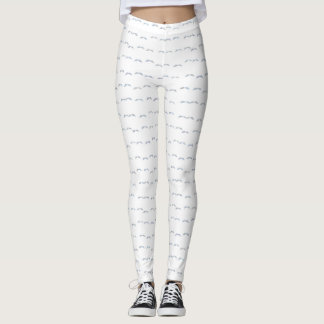 White and Grey Moustache Pattern Leggings