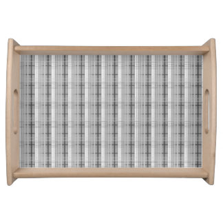white and grey plaid pattern serving tray