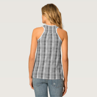 white and grey plaid pattern tank top