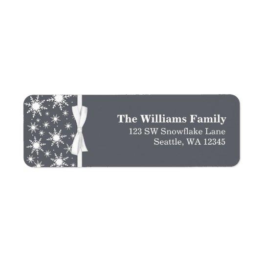 White and Grey Snowflakes Ribbon Christmas Address Return Address Label